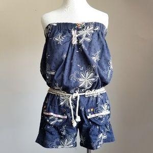 Guru Embroidered Embellished Navy Strapless Romper
